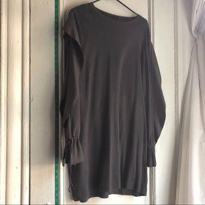 As Is Charcoal Sweatshirt Dress Cold Arm Ruffle